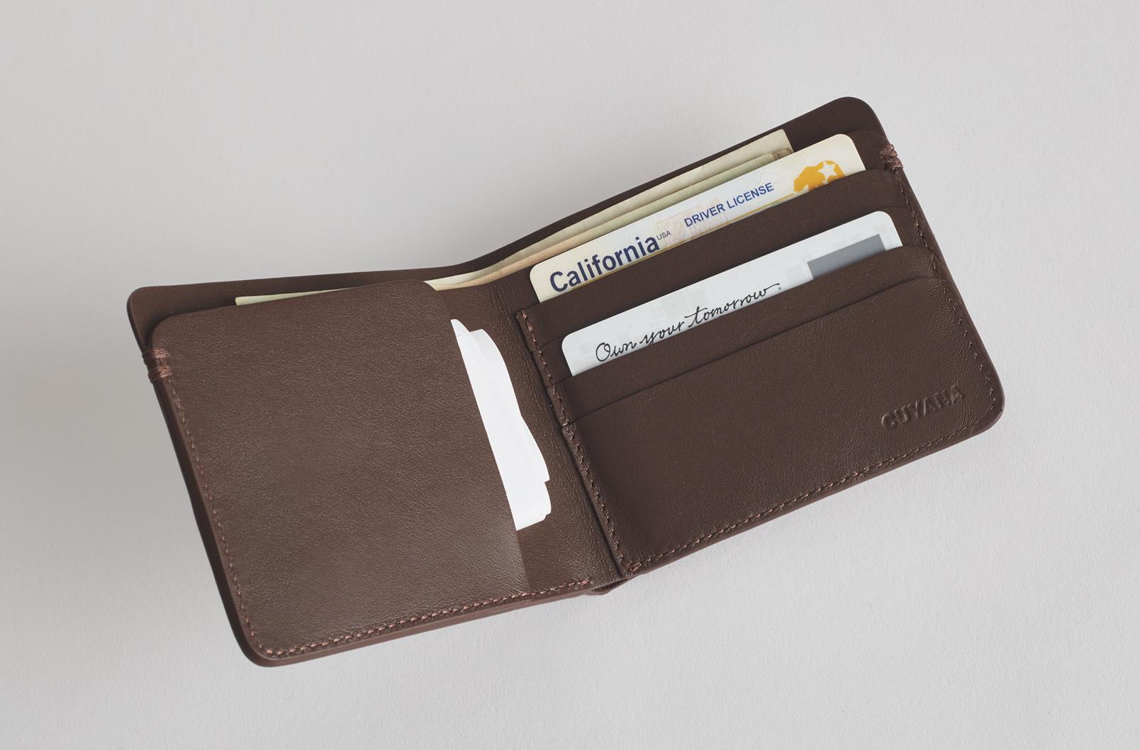 Interior Shot of Men's Leather Folding Wallet
