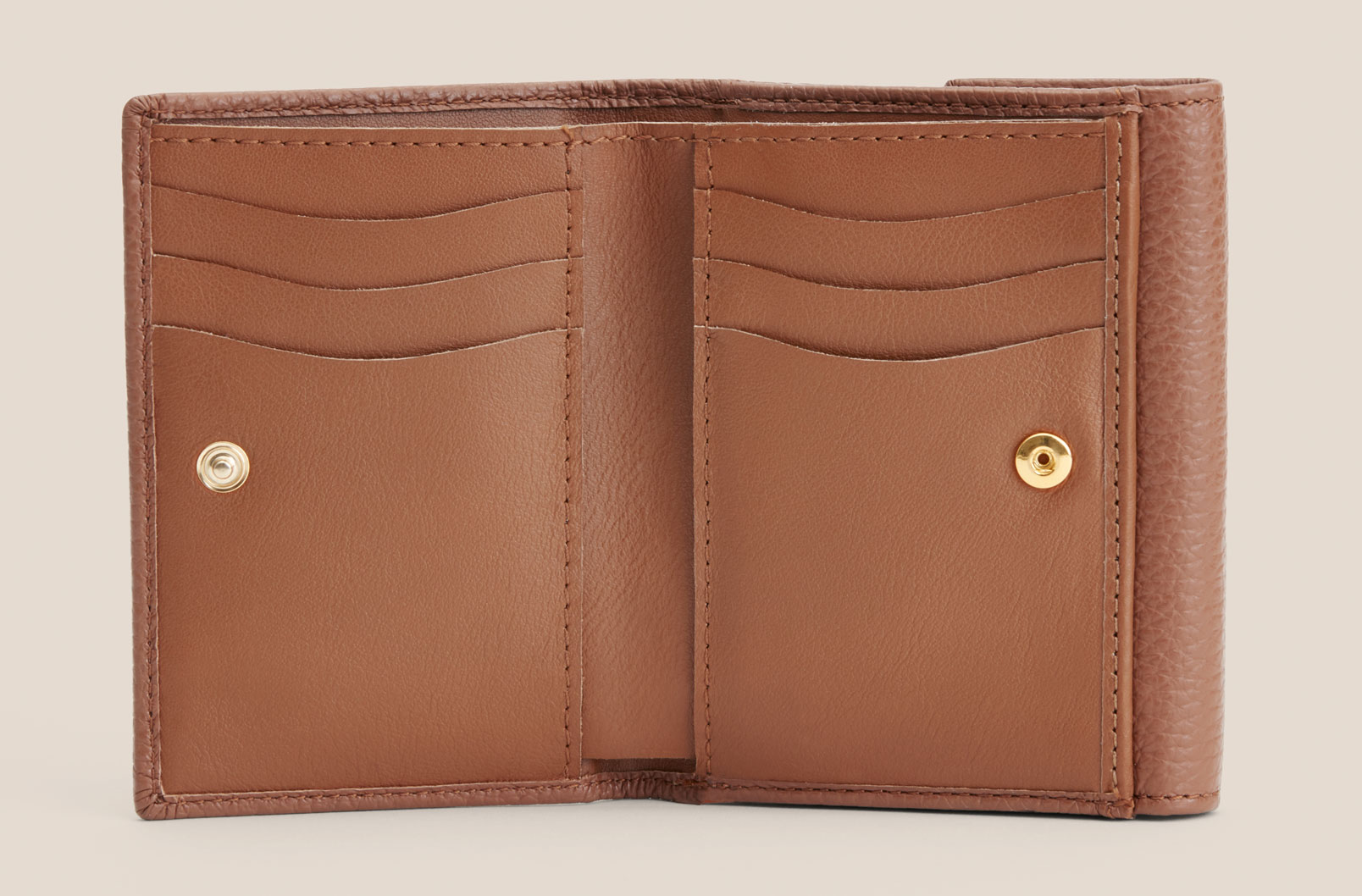 Classic Small Flap Wallet interior shot with card slots, bill slot, and coin holder