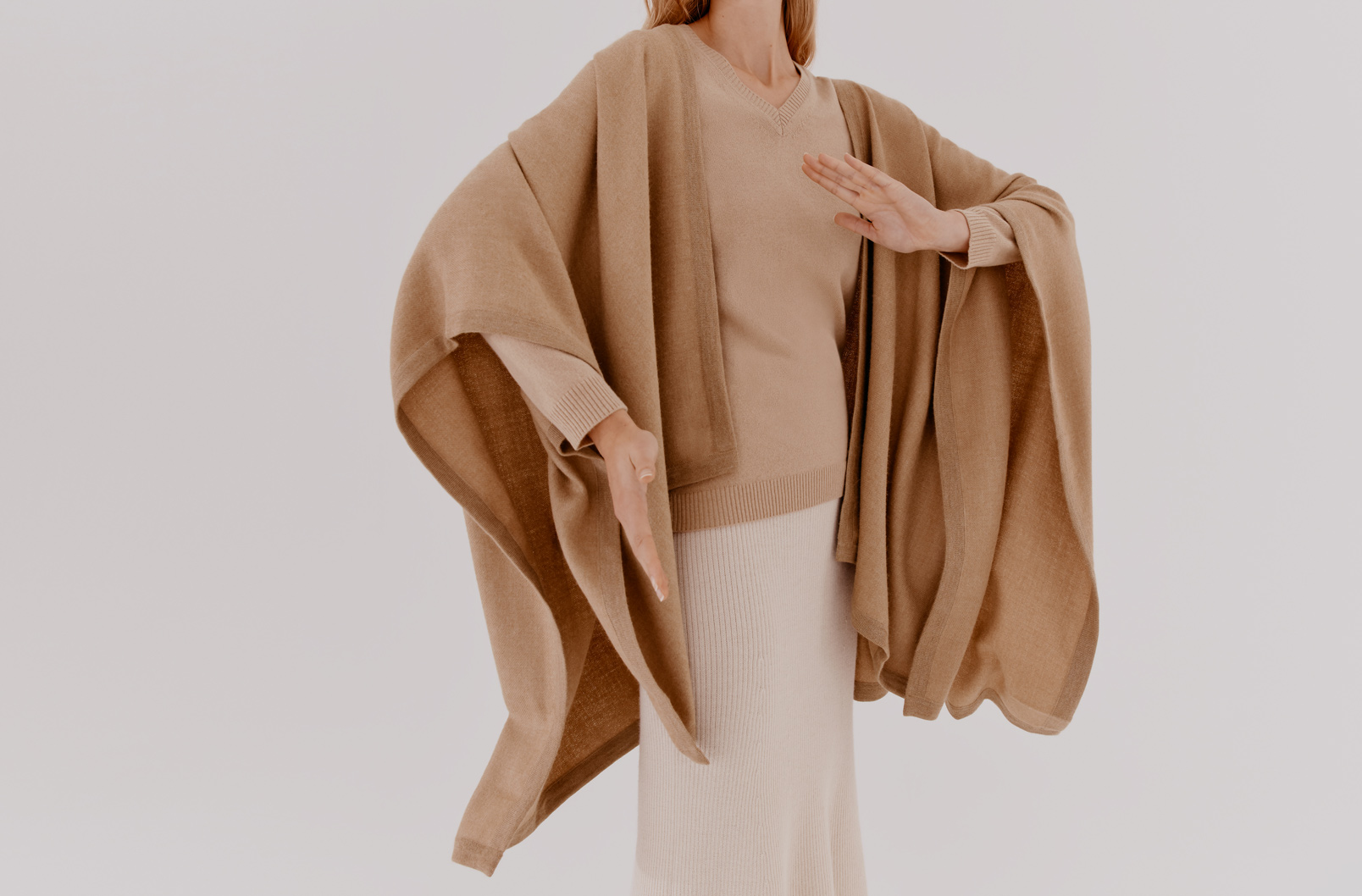 Model wearing Cuyana Baby Alpaca Square Edge Cape