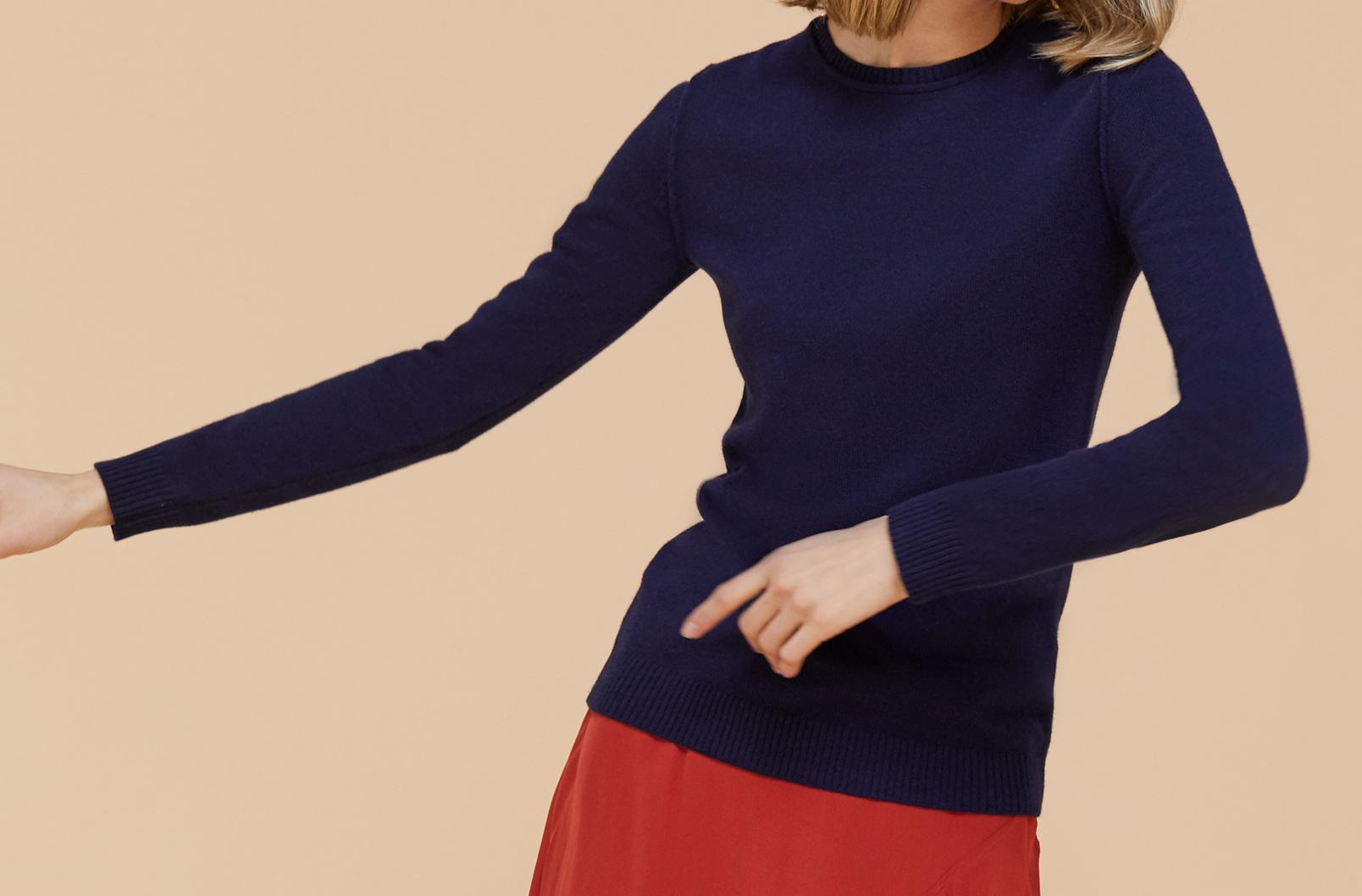 Wool Cashmere Slim Crewneck Sweater on model dancing