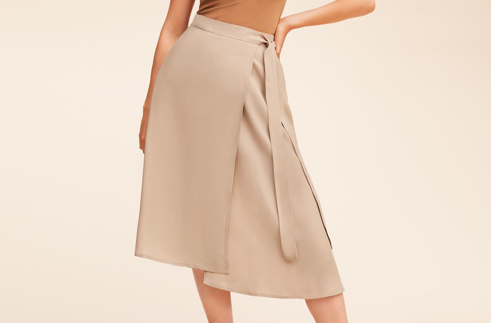 Cuyana Wrap Skirt on model