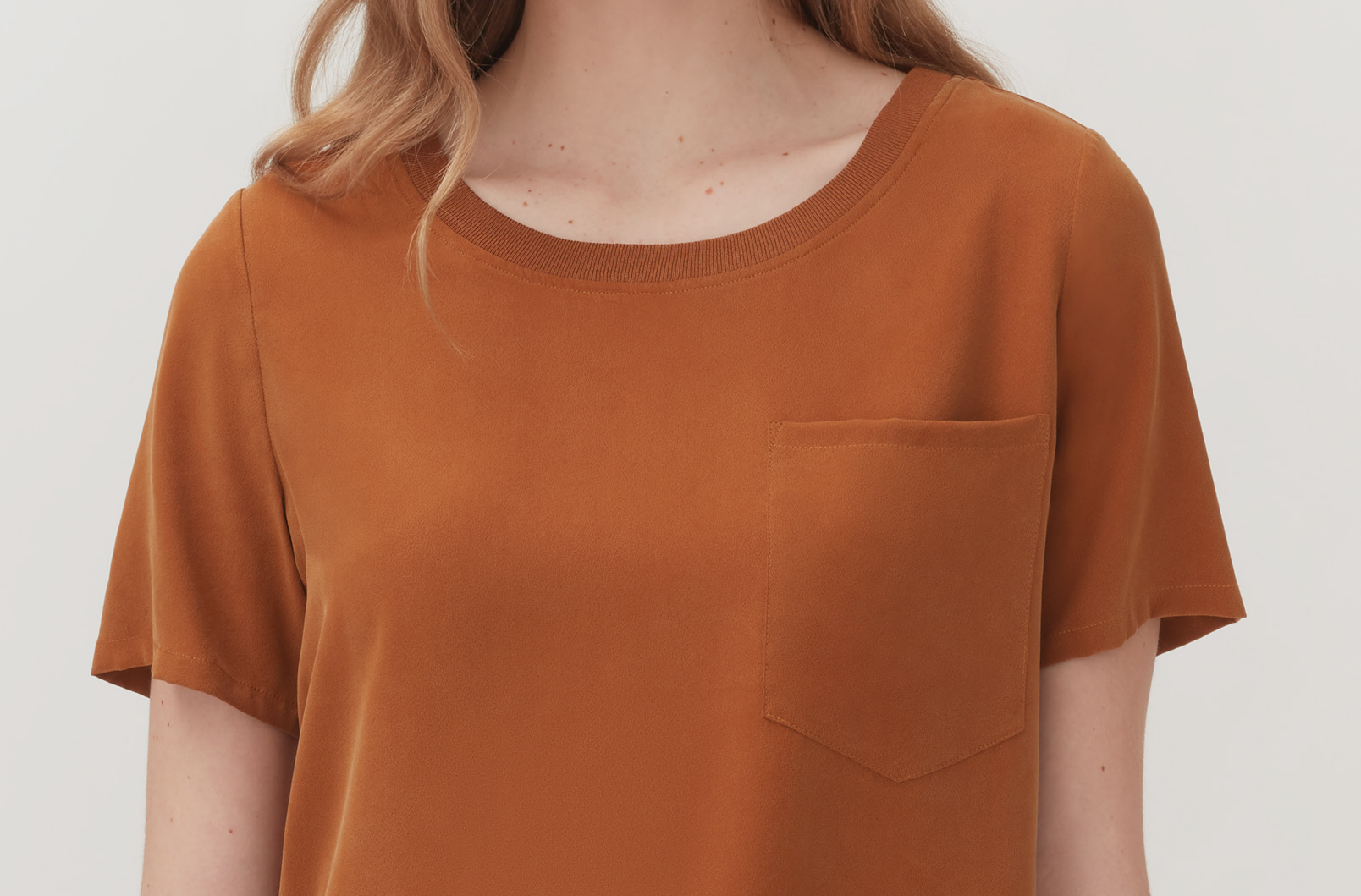 Detail shot of Washable Silk Pocket Tee neckline