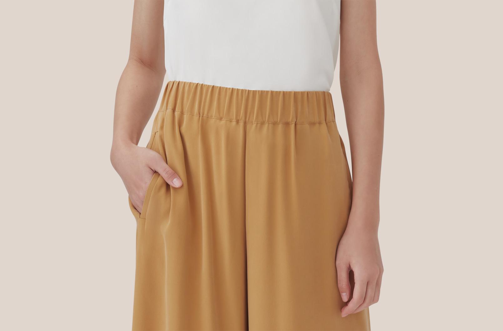 Washable Silk Wide-Leg Cropped Pant Pocket