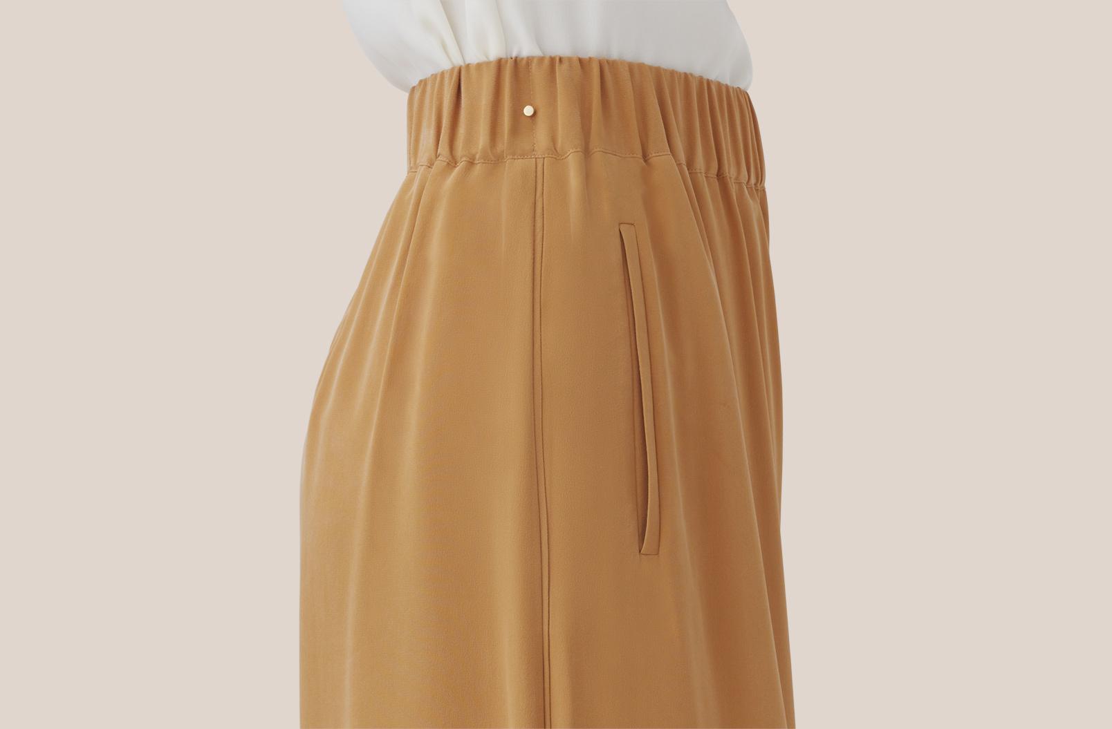 Washable Silk Wide-Leg Cropped Pant Waistband