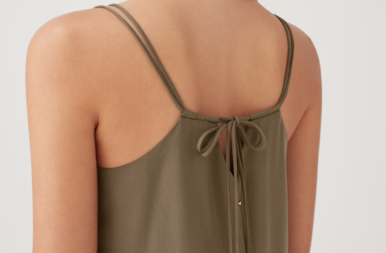 Detail image of the back of the Tencel Tie-Back Short Dress
