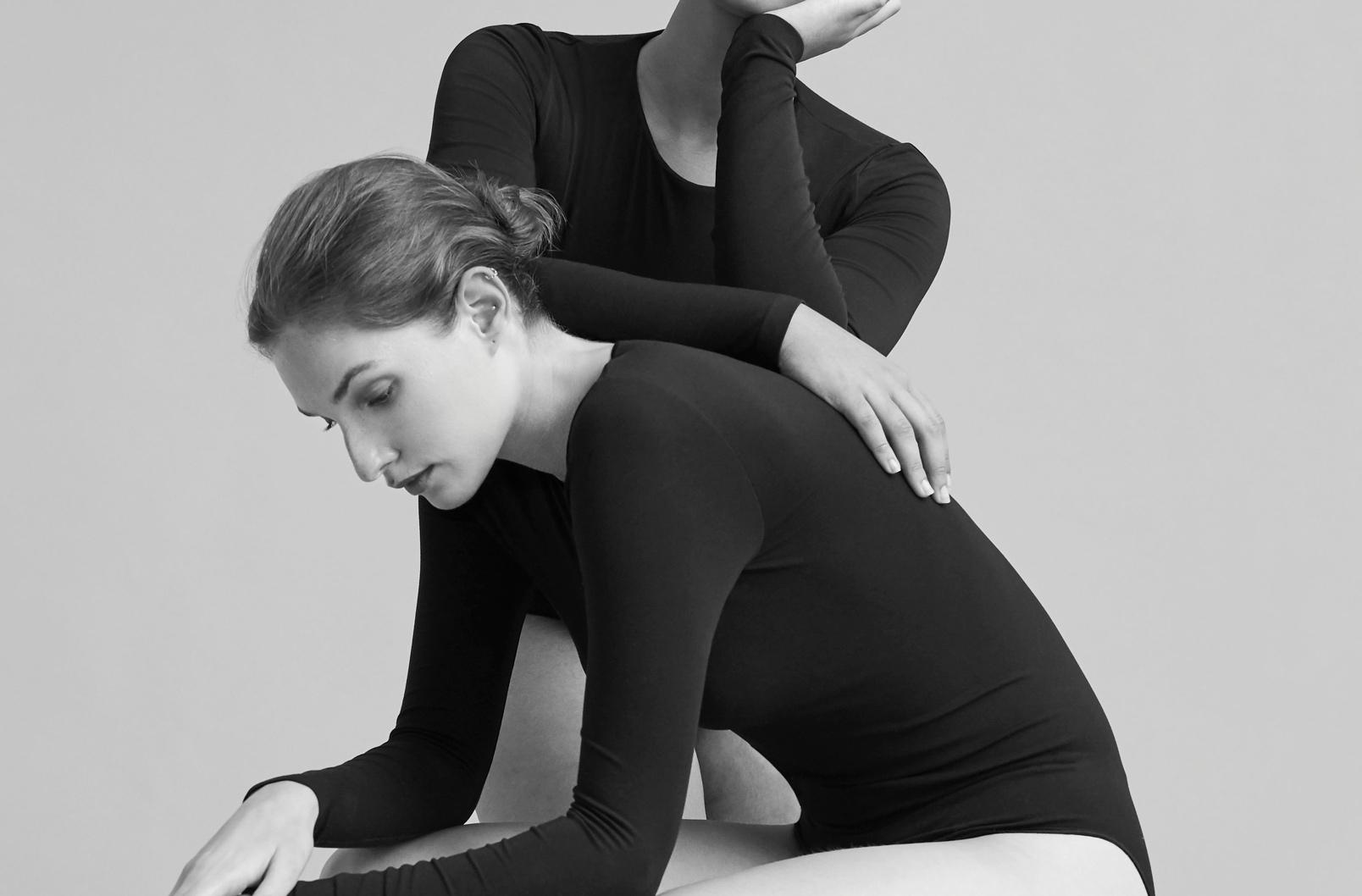 Two models wearing Seamless Long Sleeve Bodysuit