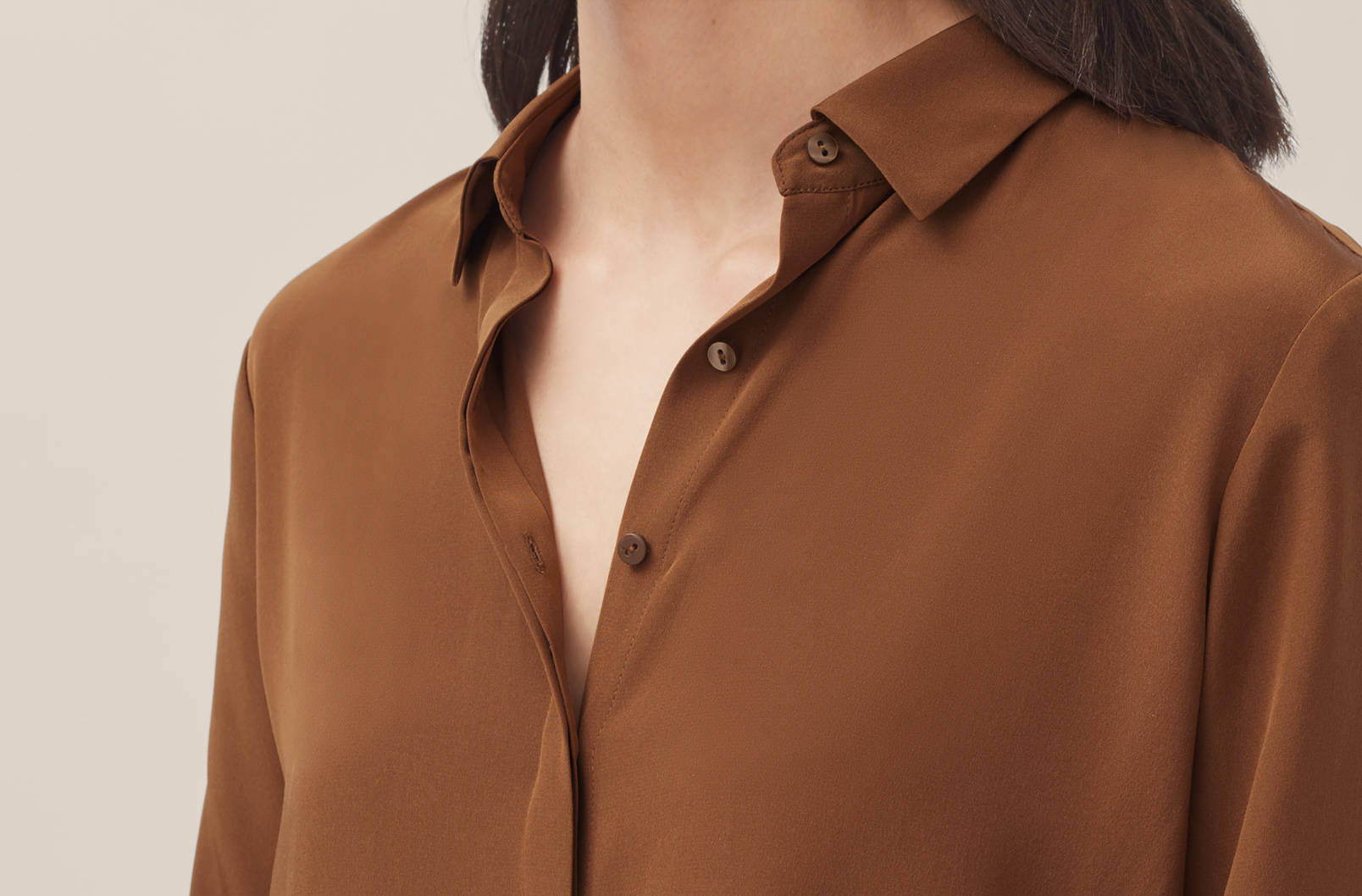 Hidden button placket of Silk Button Down Shirt