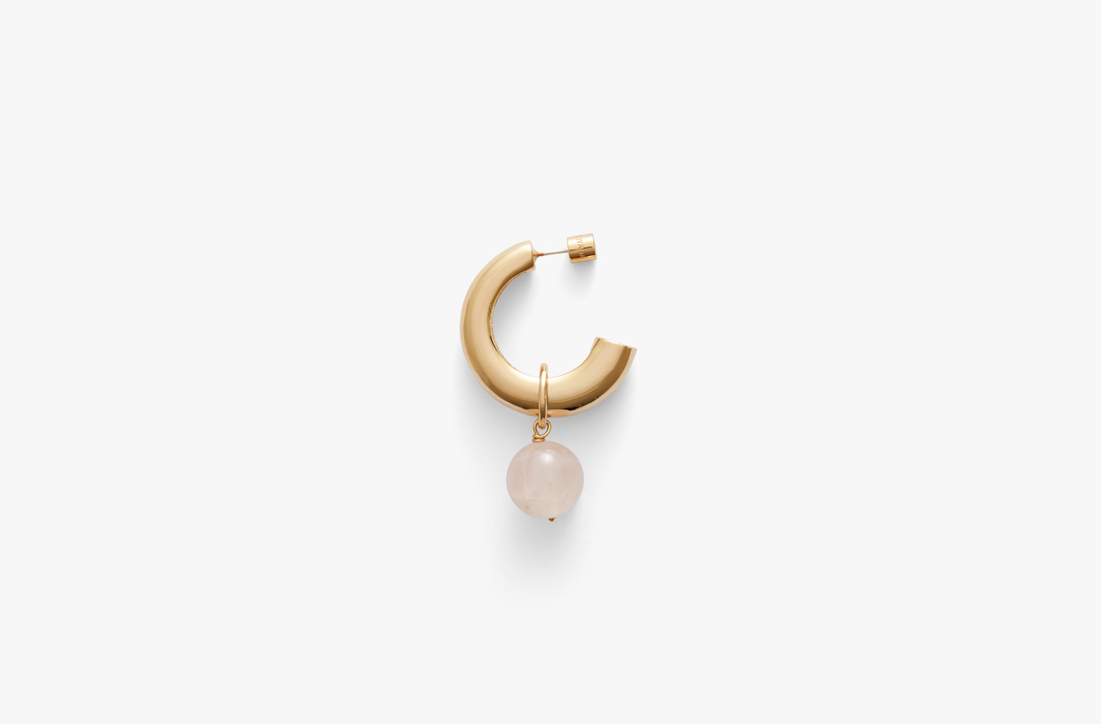 Hoop Earring with Rose Quartz Embellishment