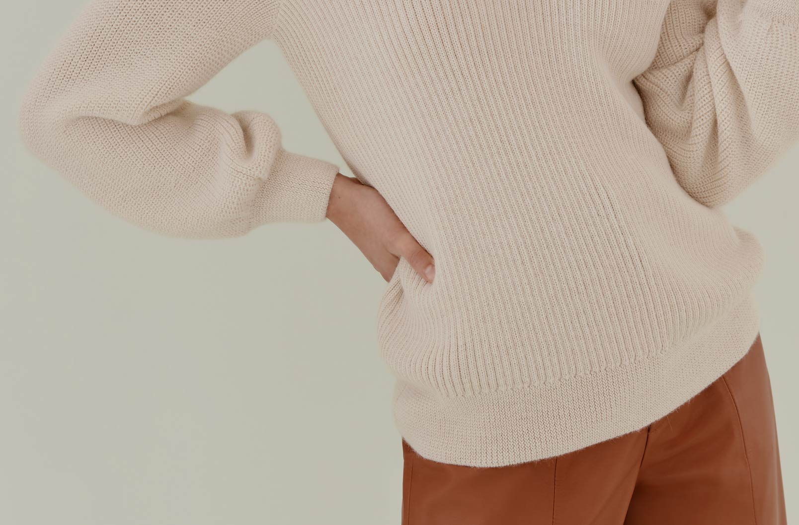 Image showing balloon sleeve of Alpaca Off-the-Shoulder Sweater