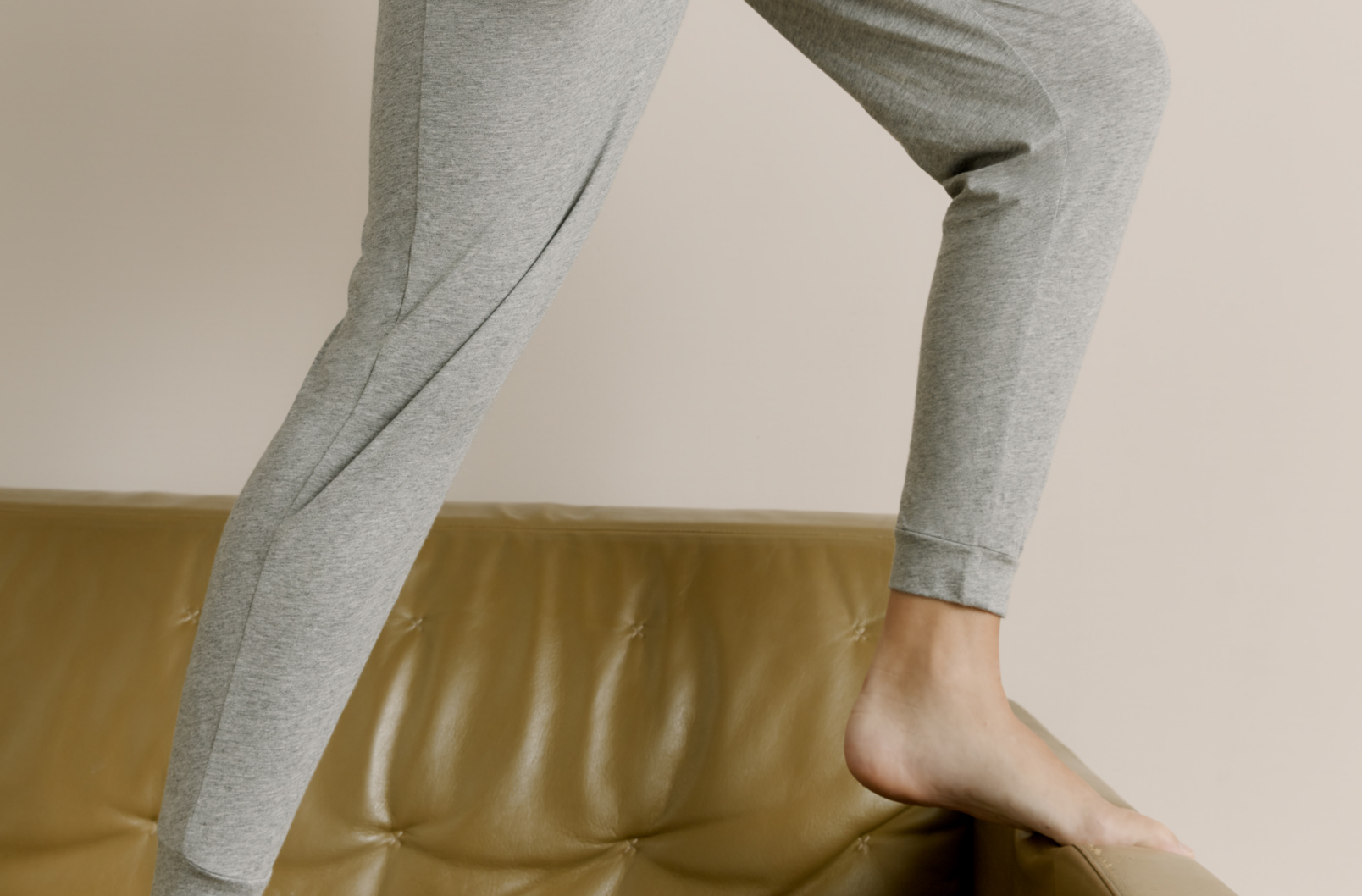 Detail image showing ankles of model wearing Pima Tapered Pant
