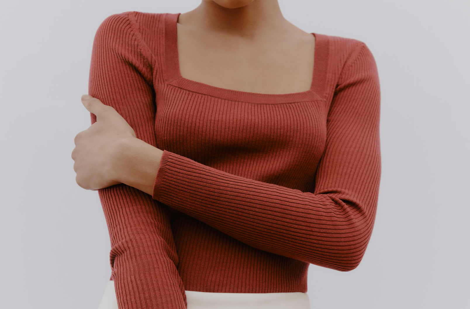 Model wearing Cotton Cashmere Square Neck Rib Sweater