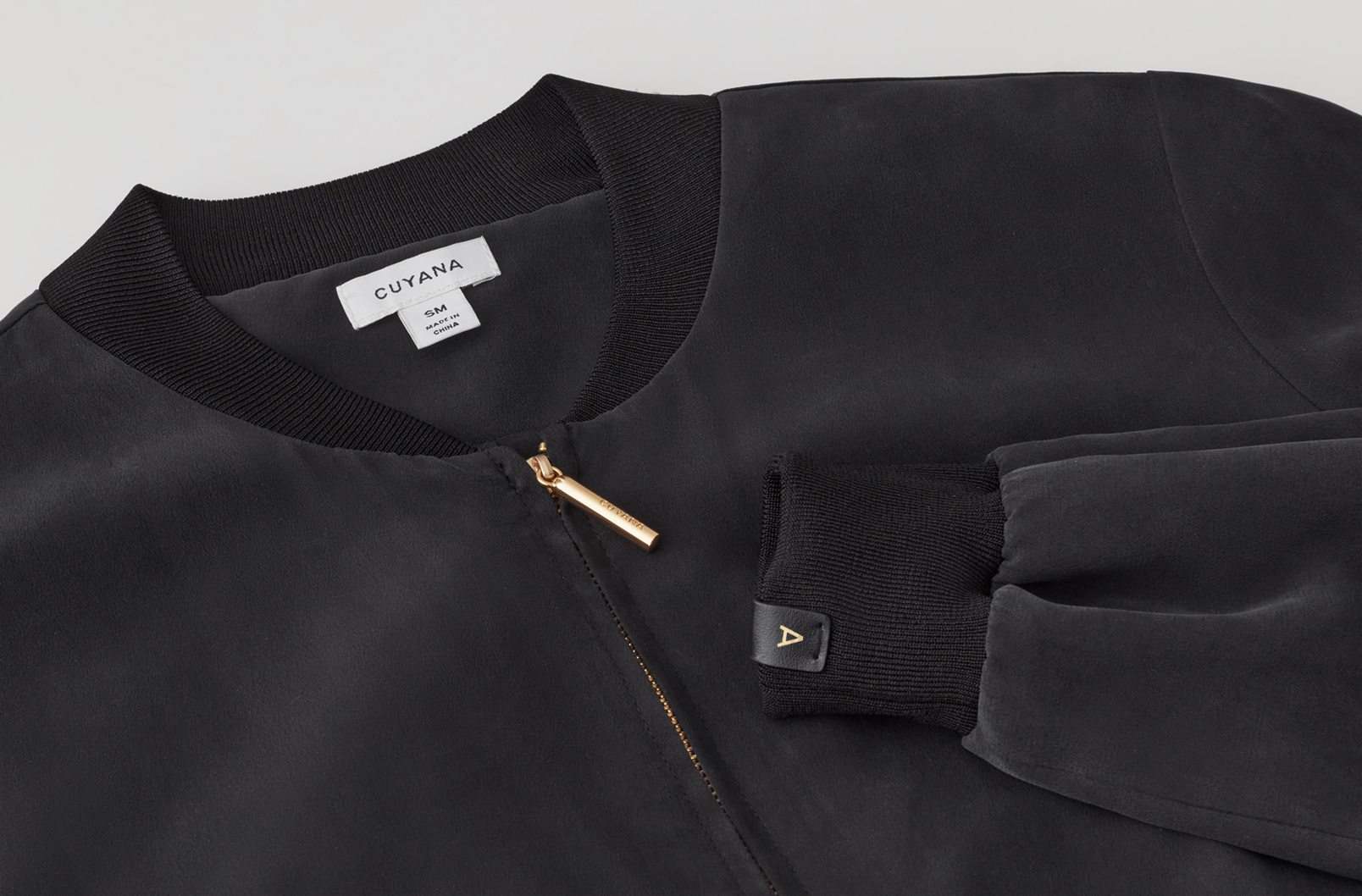 Washable Silk Bomber Black Detail
