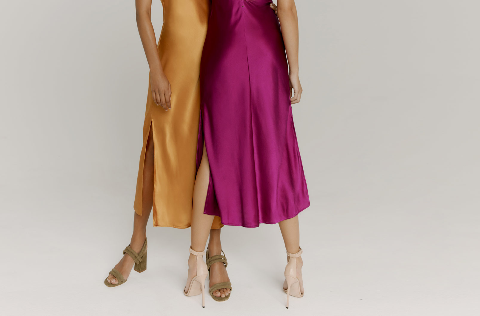 Two models showing bottom of Charmeuse Slip Dress