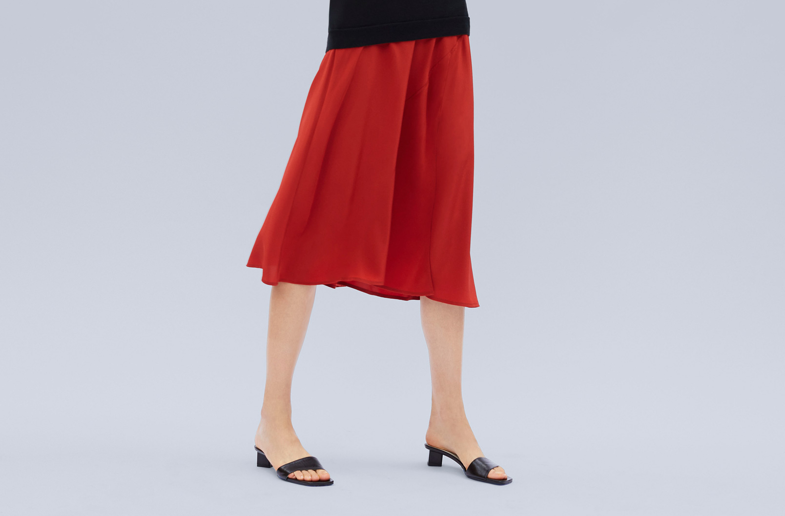 Image of Silk Asymmetrical Skirt on model