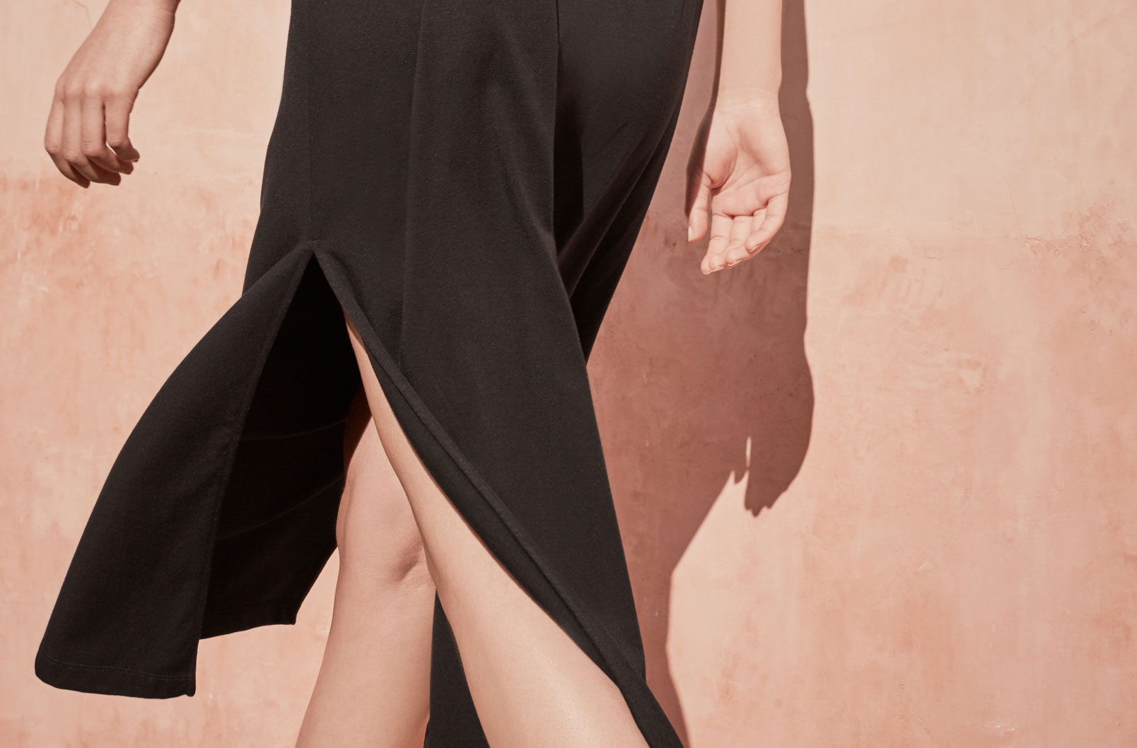Detail image of side slit of Drape-Back Dress
