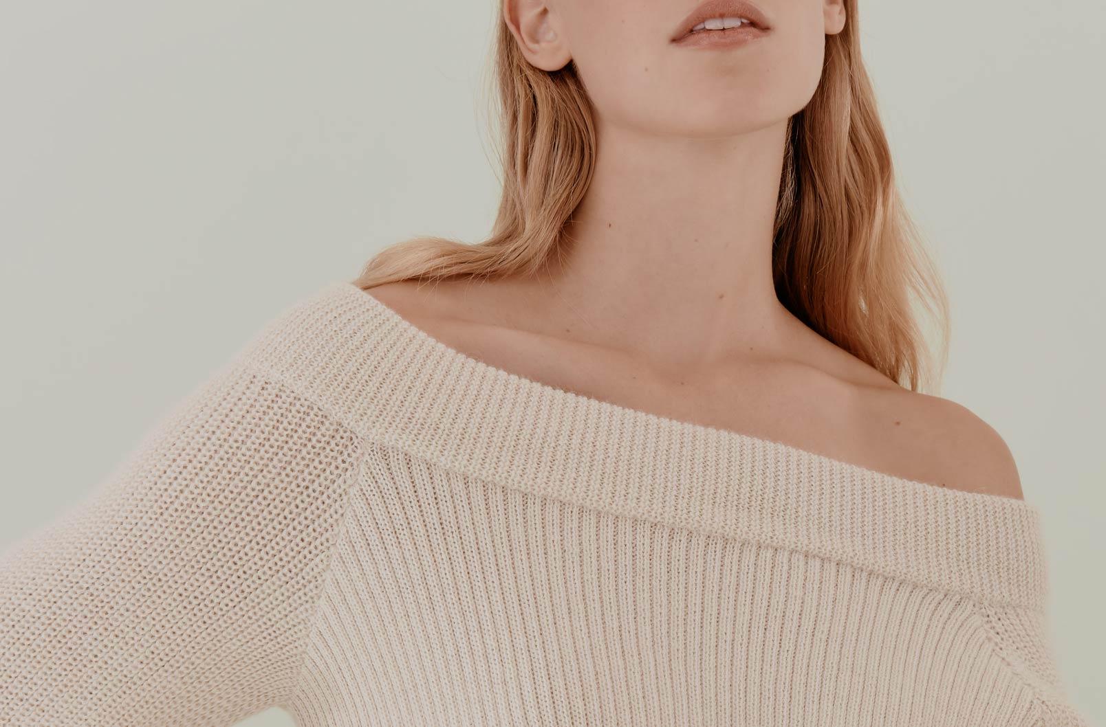 Detail image showing open neckline of Alpaca Off-the-Shoulder Sweater