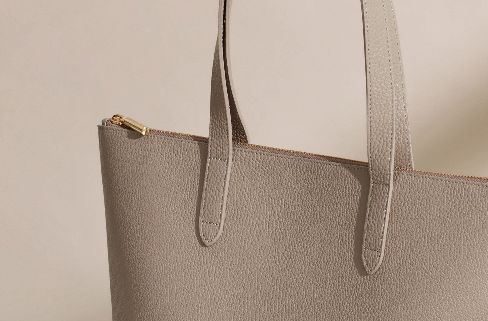 Cuyana Tall Structured Leather Zipper Tote in Stone