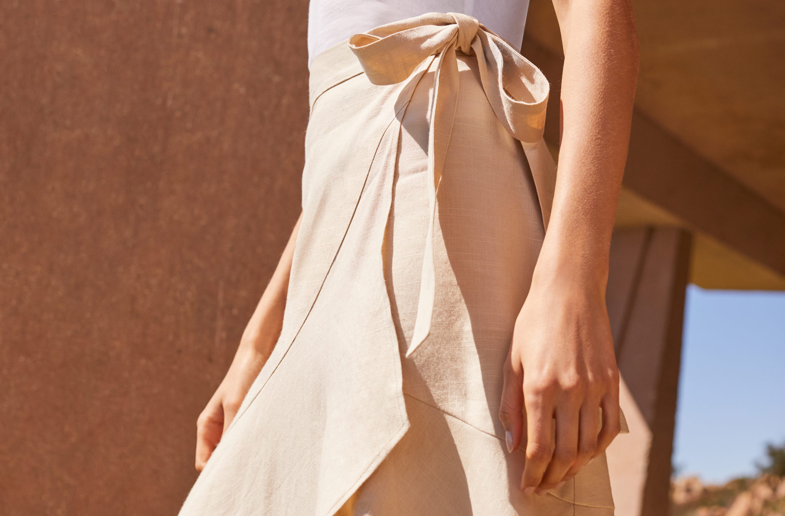 Detail image of Linen Ruffle Wrap Skirt