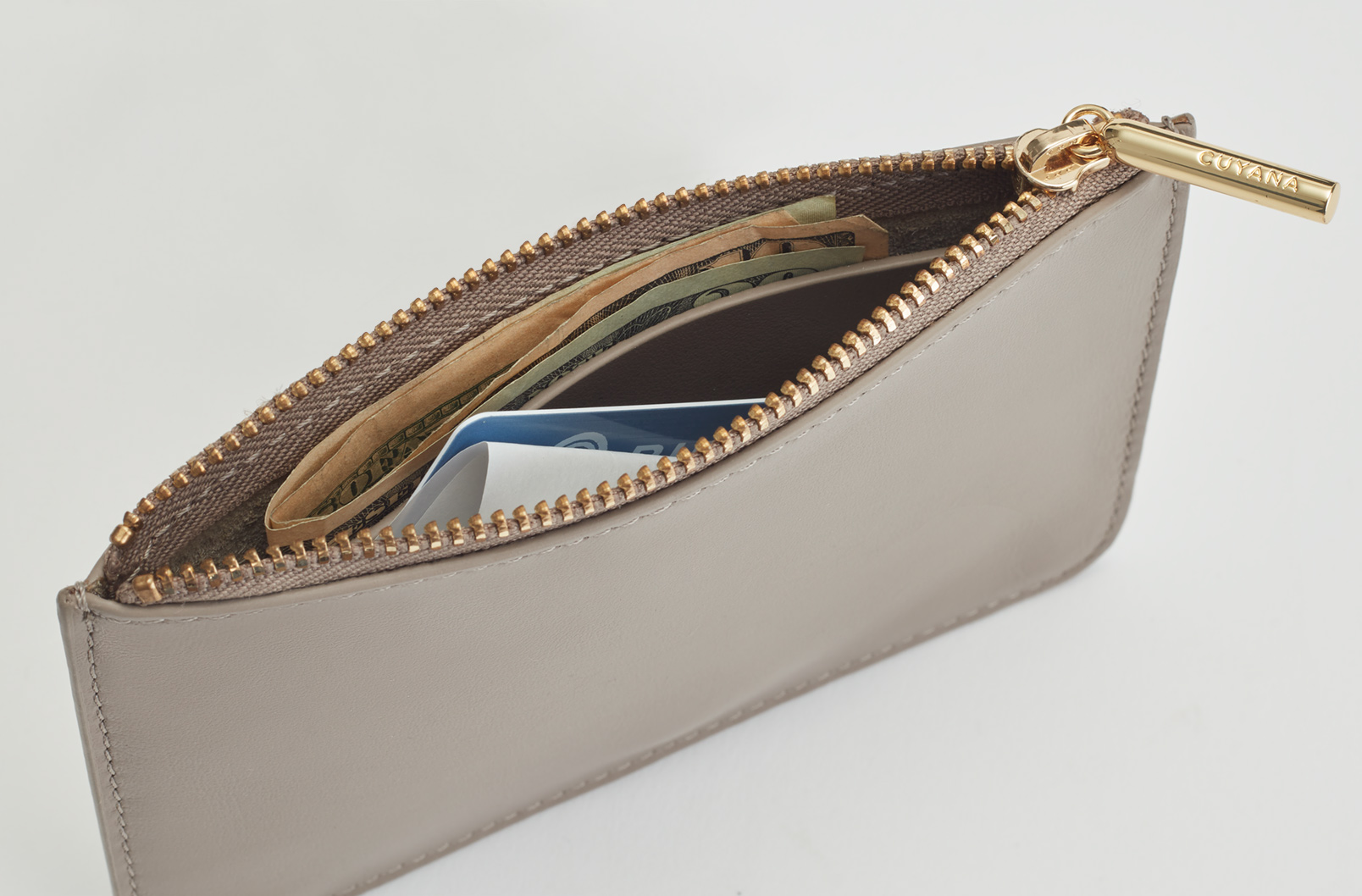 Interior shot of Slim Leather Pouch