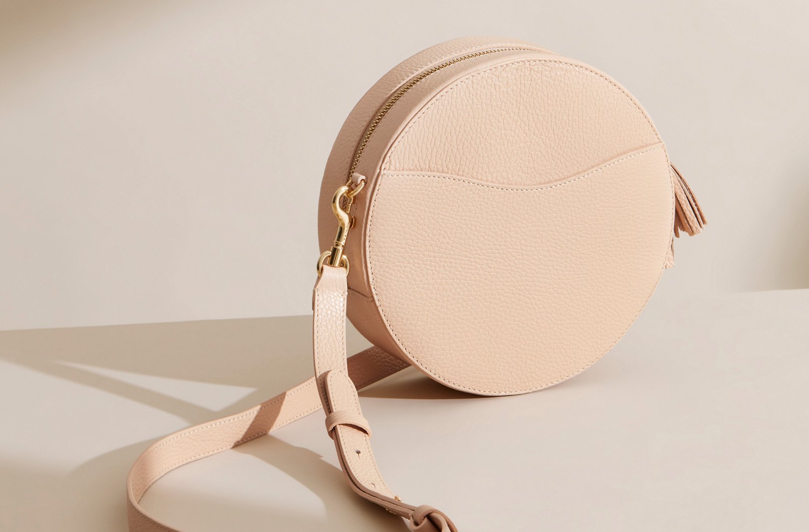 Cuyana Curved Crossbody in Blush standing on own