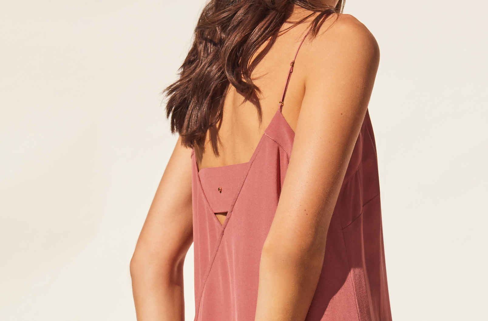 Detail image of Silk Slip Dress with back panel
