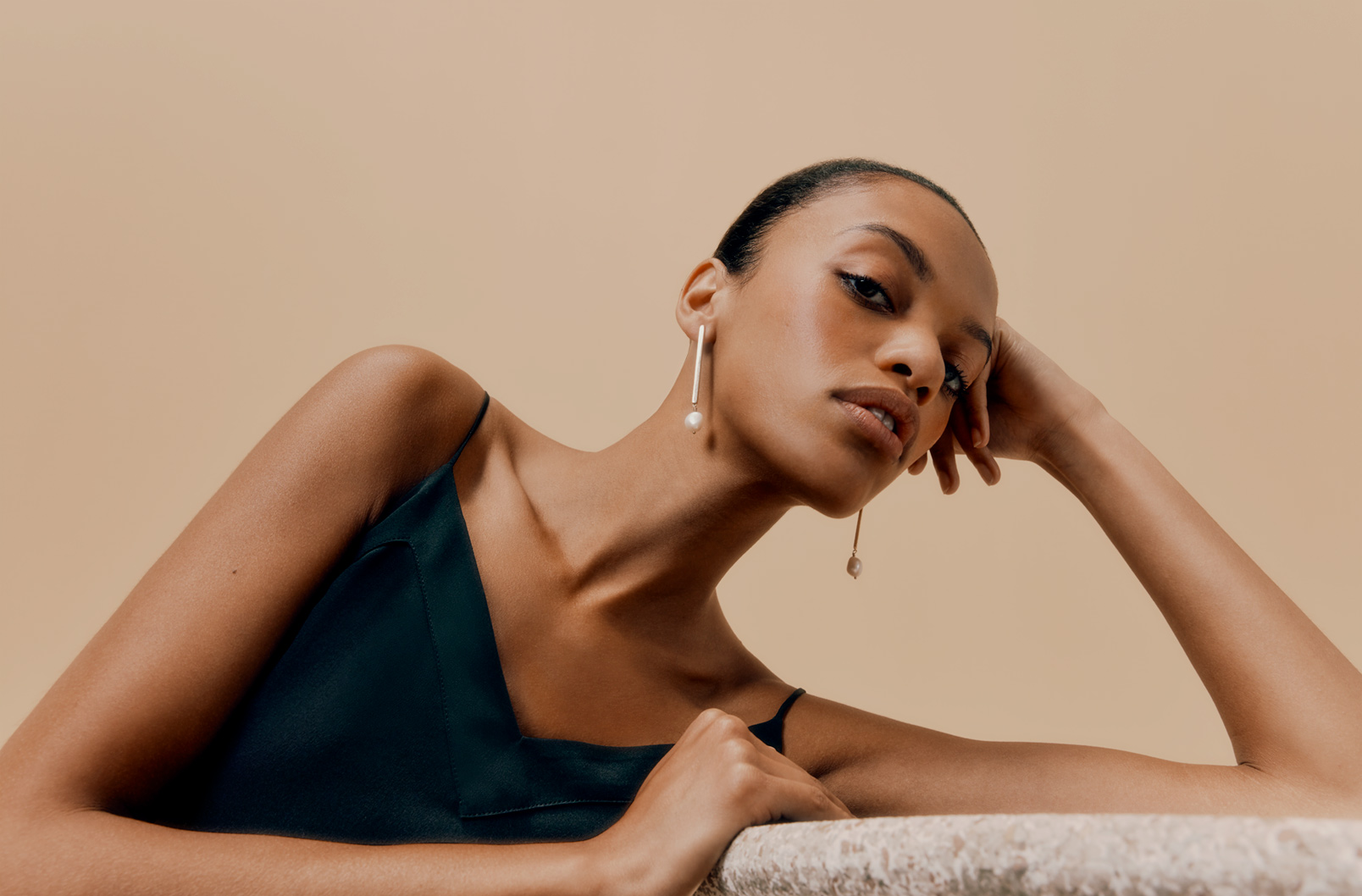 Pearl Drop Earrings on Model