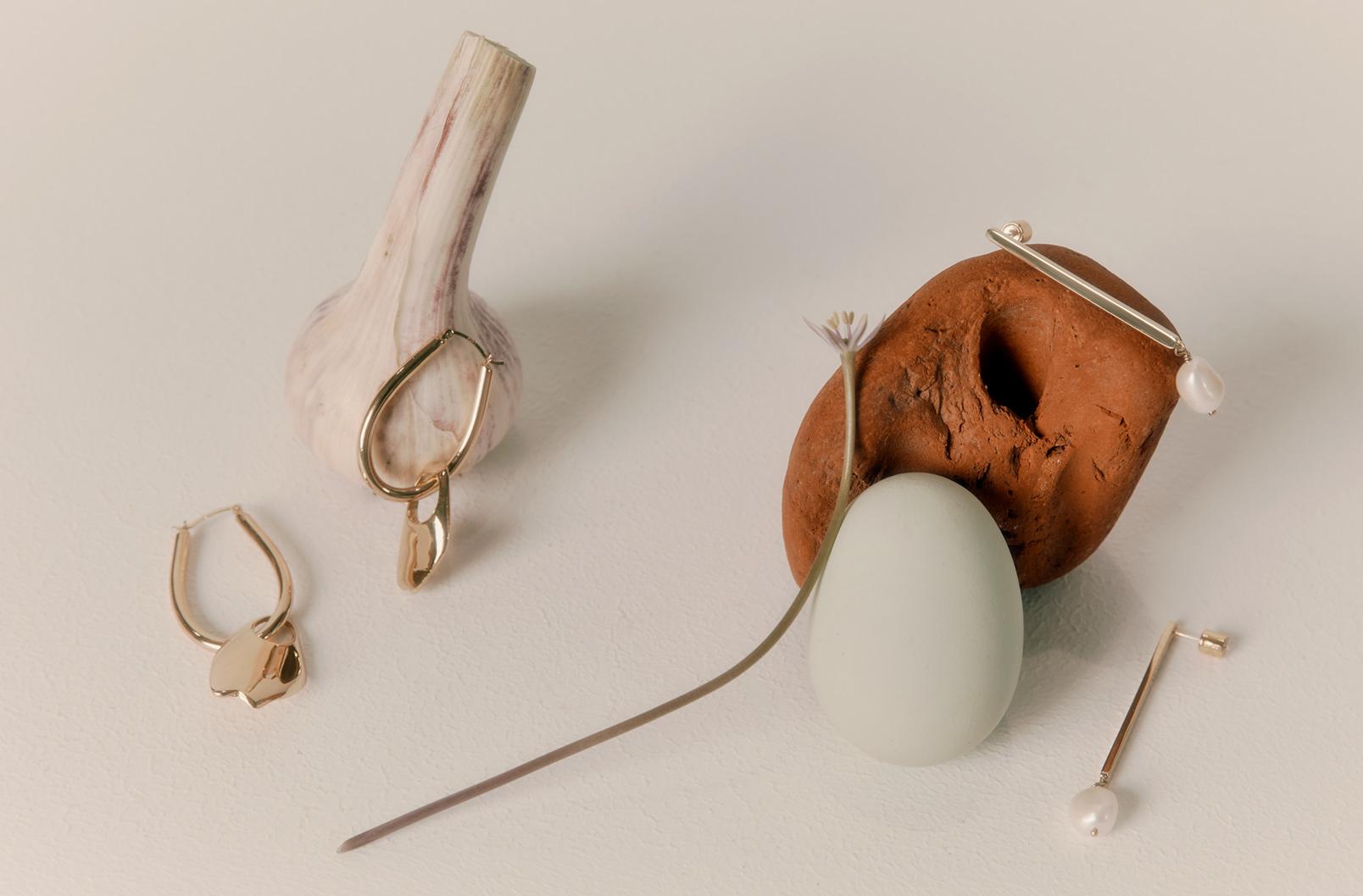 Asymmetrical Pearl Hoop Earrings