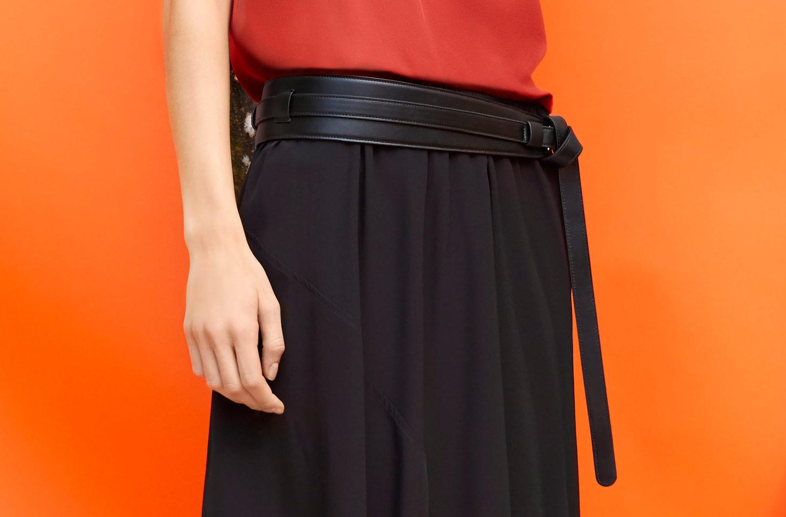Model wearing Blood Orange Silk Cami