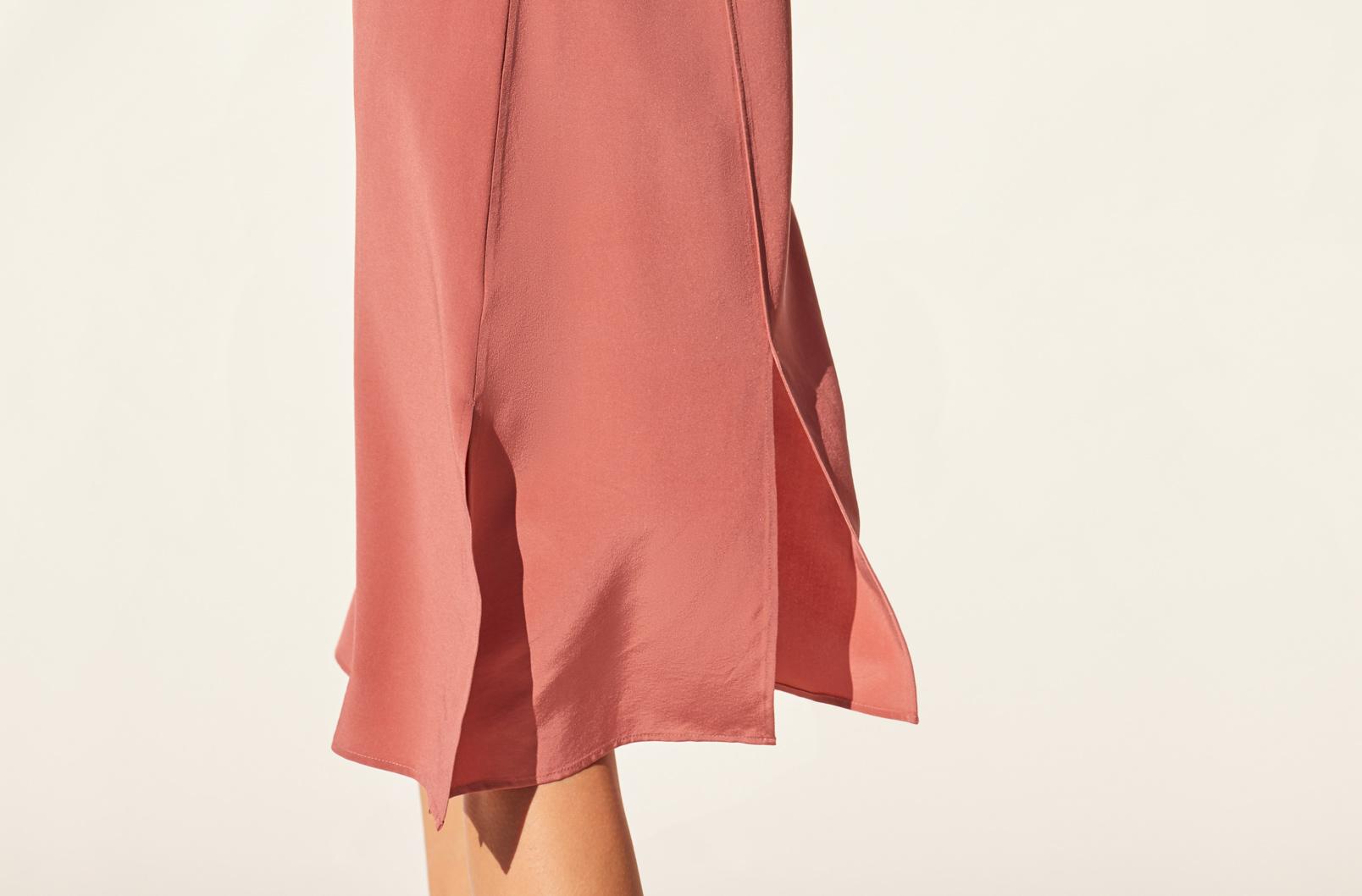 Detail shot of side slit of Silk Slip Dress