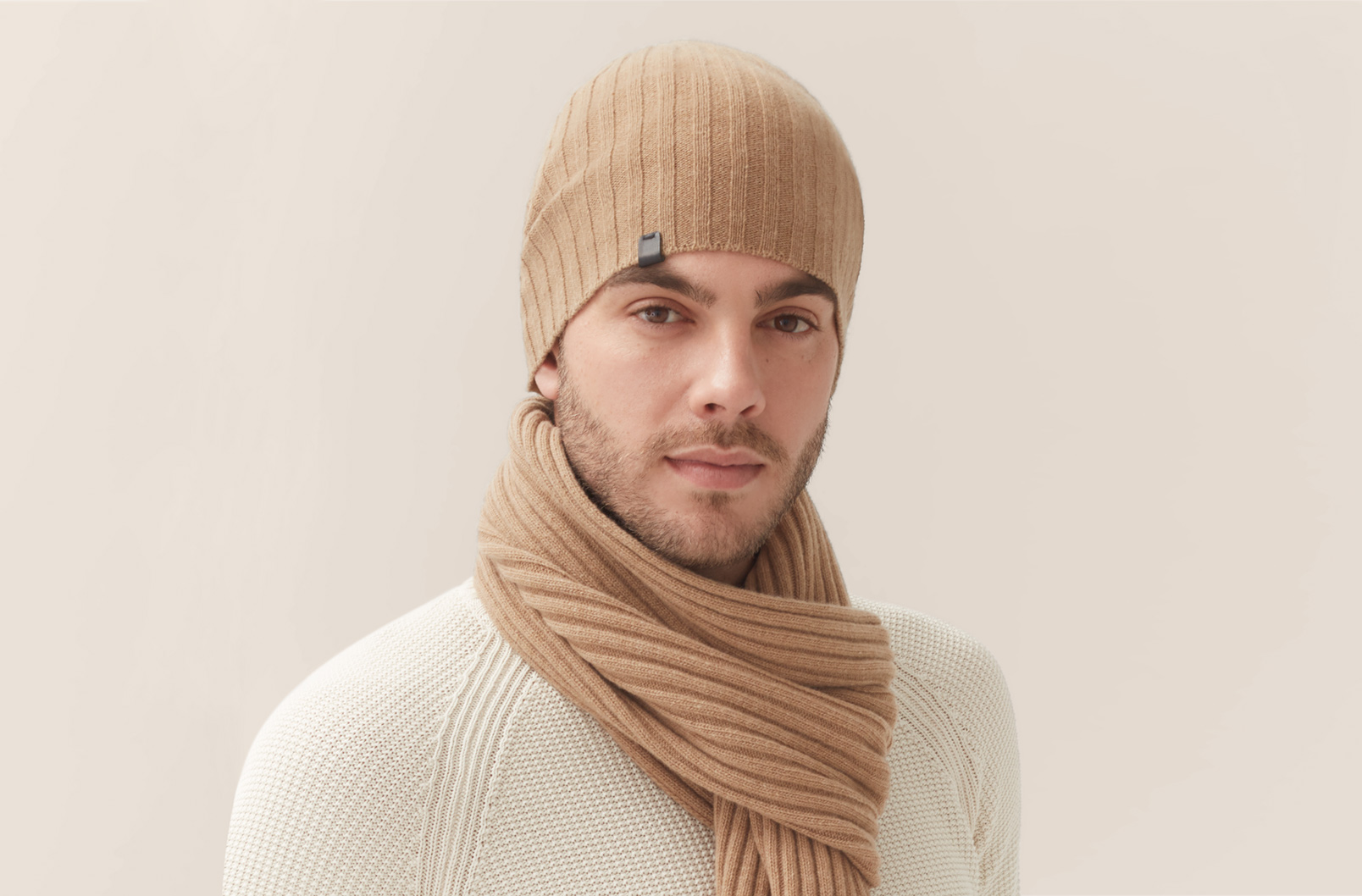 Men's Wool Cashmere Ribbed Beanie on Model