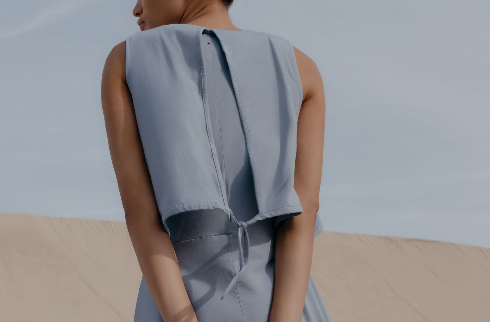 Asymmetrical Overlay Dress with back closure