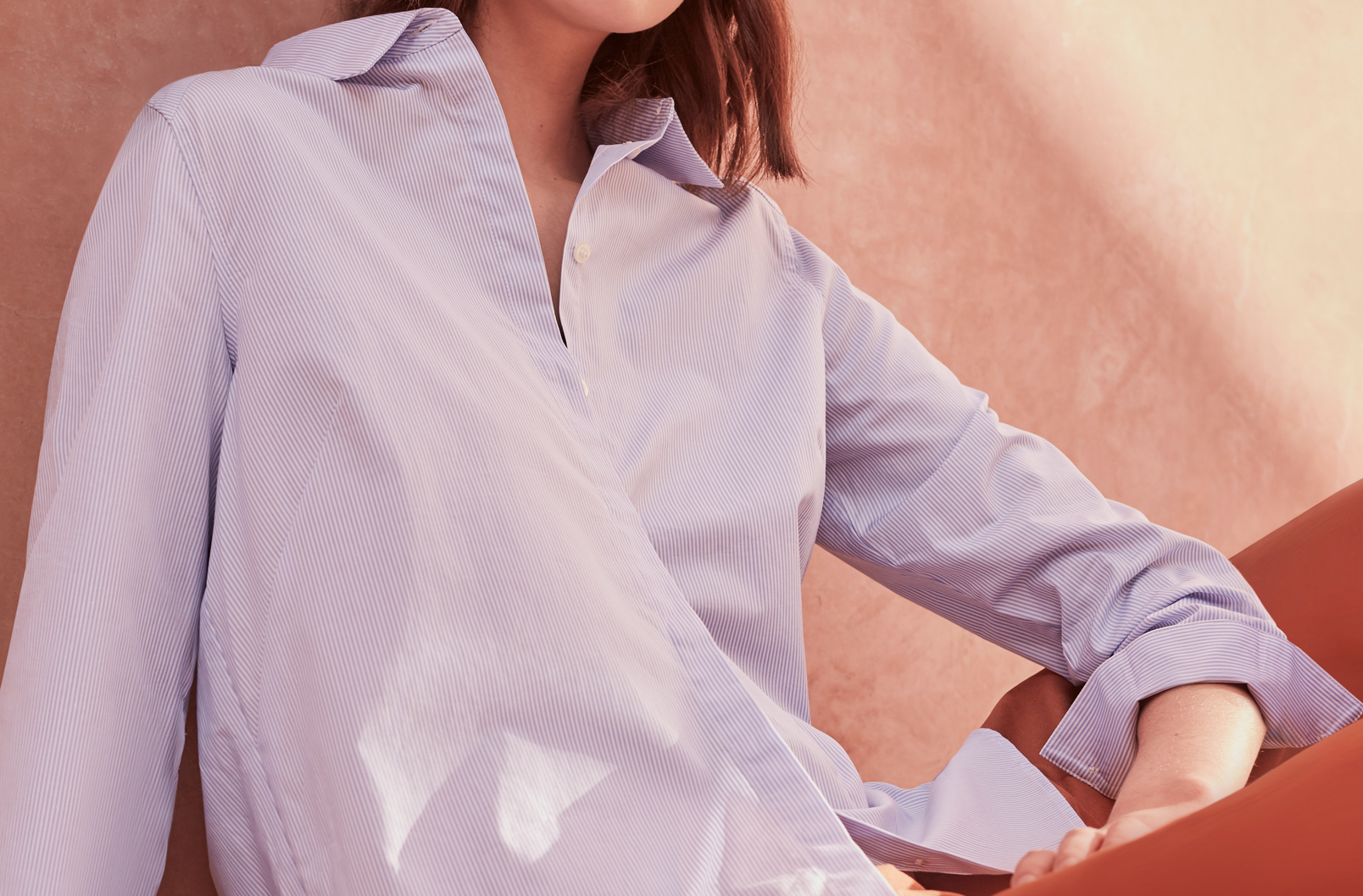 Image showing concealed placket on Cuyana Poplin Pleat-Back Shirt