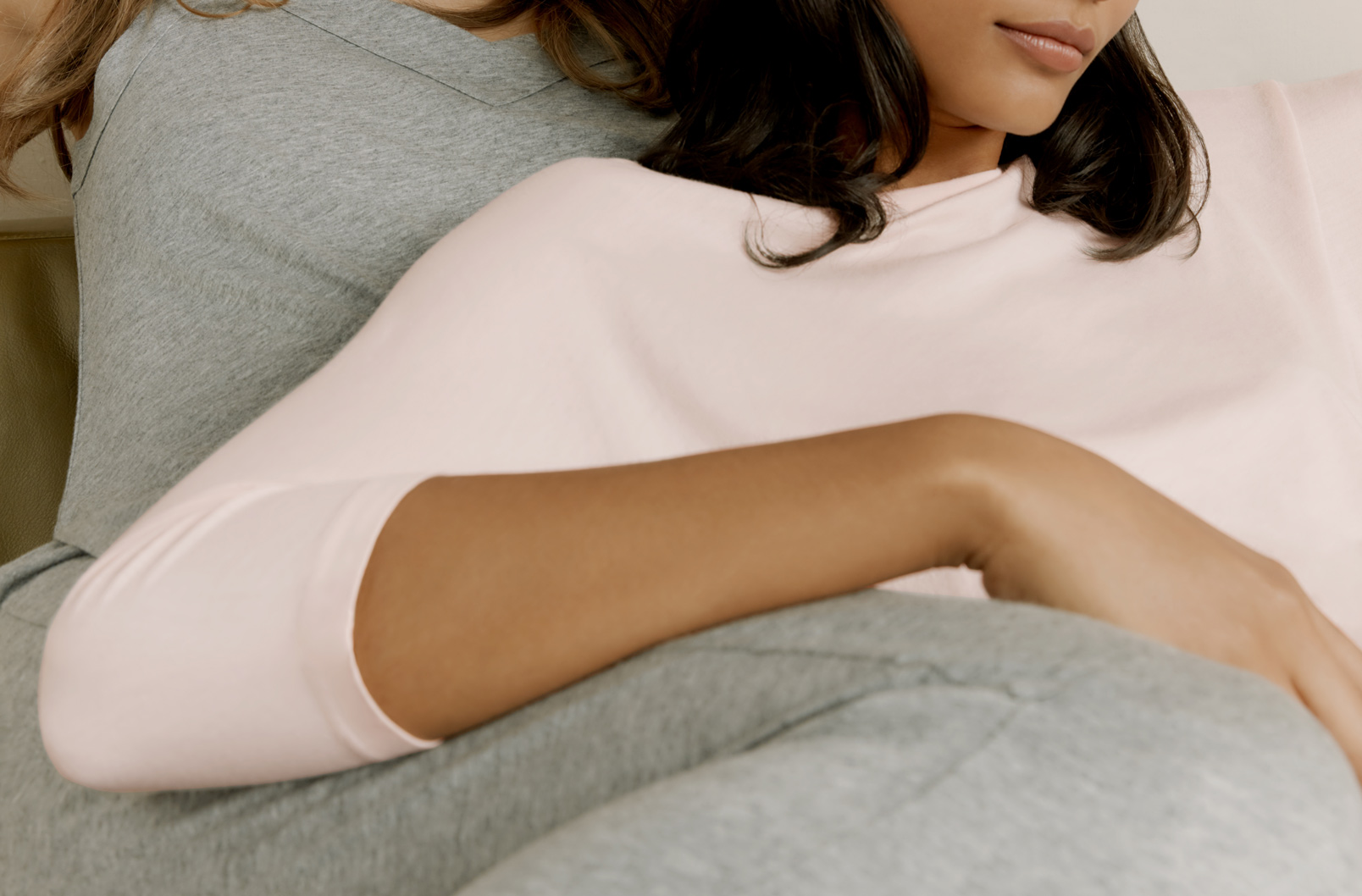 Model wearing Pima Drape-Back Top