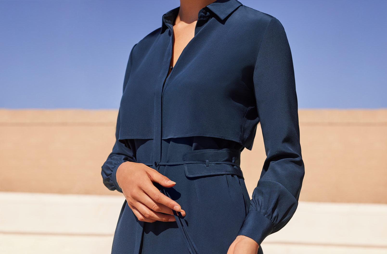 Model wearing Silk High-Low Shirt Dress