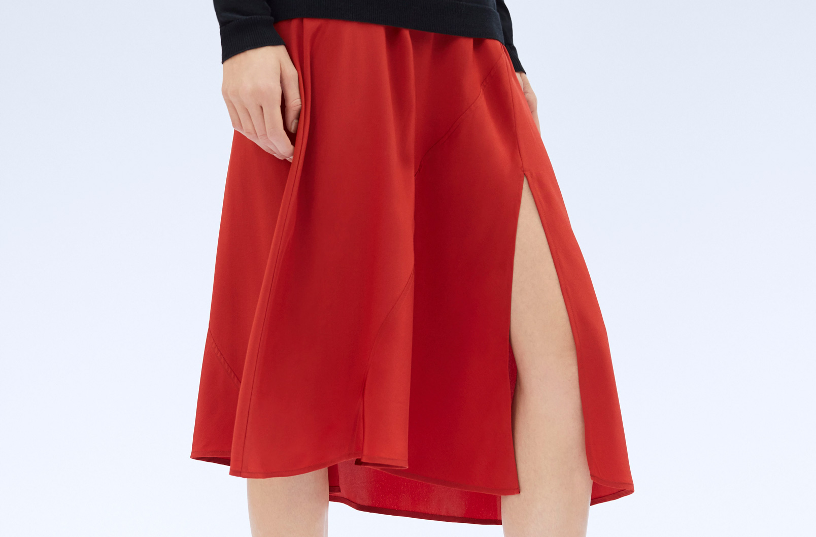 Detail image showing slit on Silk Asymmetrical Skirt