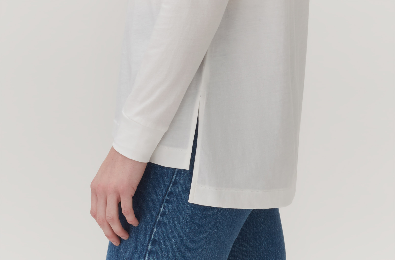 Cuyana Pima Boatneck Long Sleeve Tee