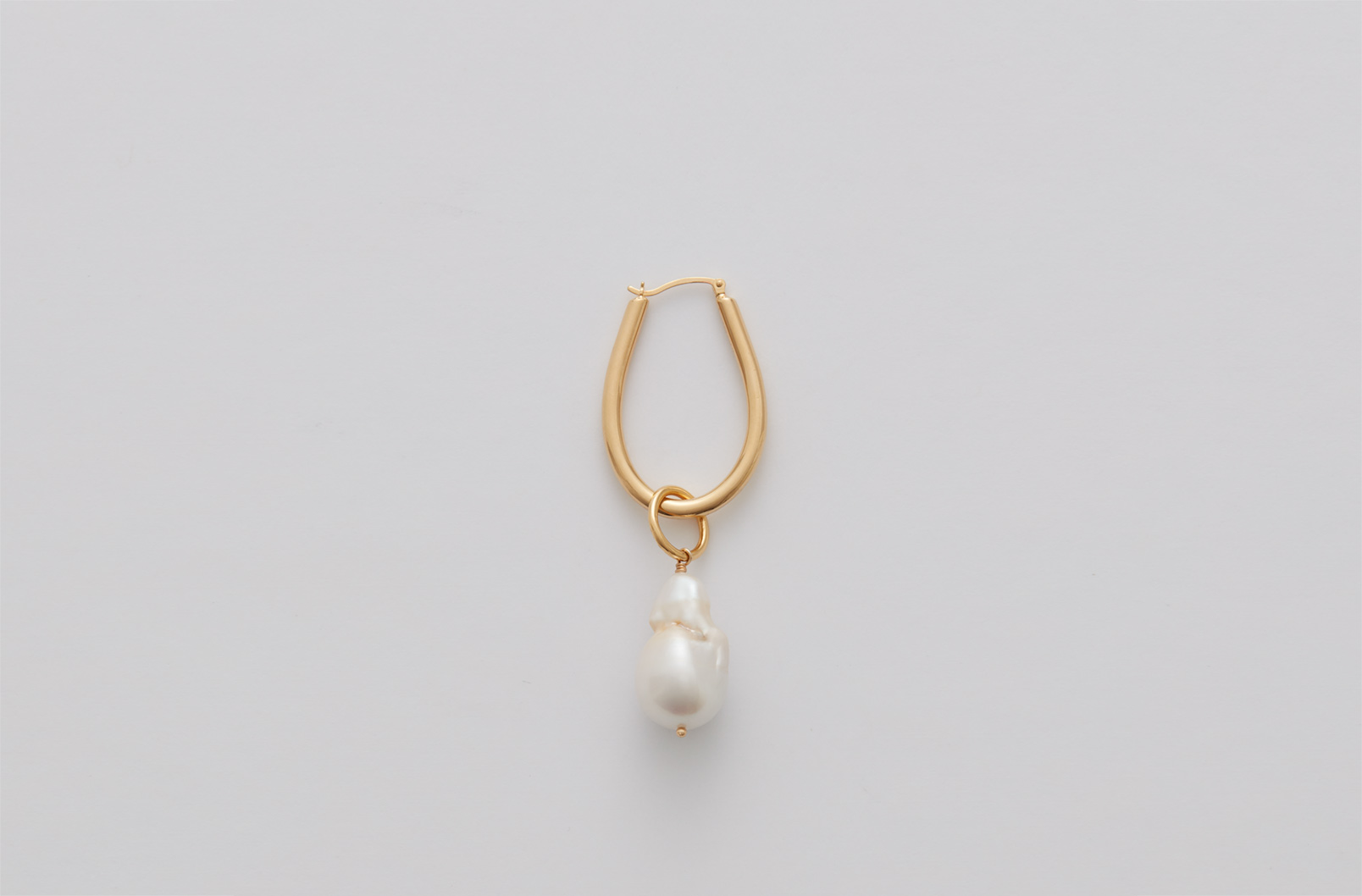 Baroque Pearl Embellishment with Asymmetrical Petal Hoop Earring