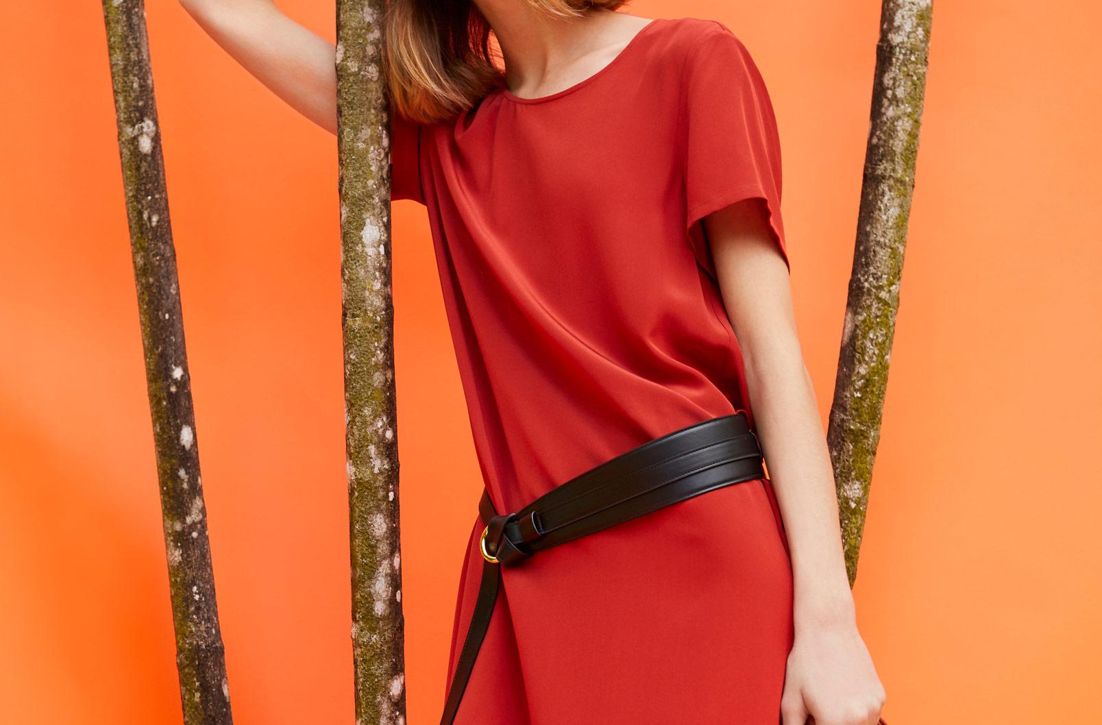 Model wearing Silk Pleat-Back Tee Dress with Leather Wrap Belt