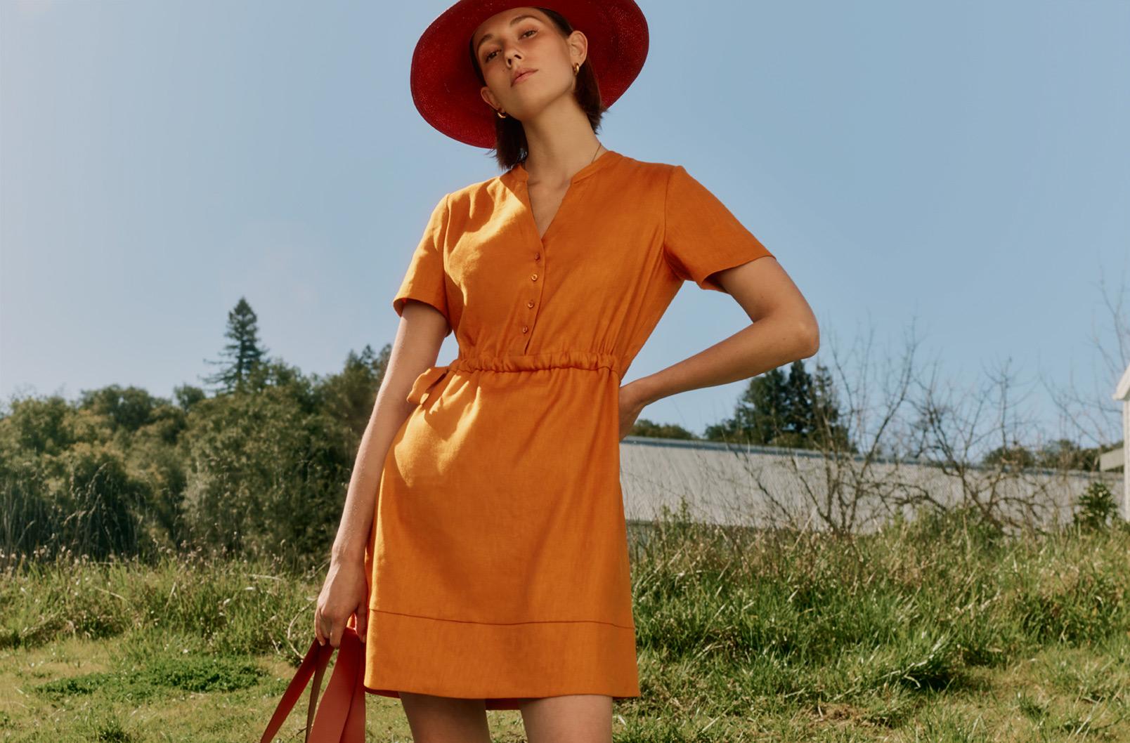 Detailed Image of Linen Shirt Dress