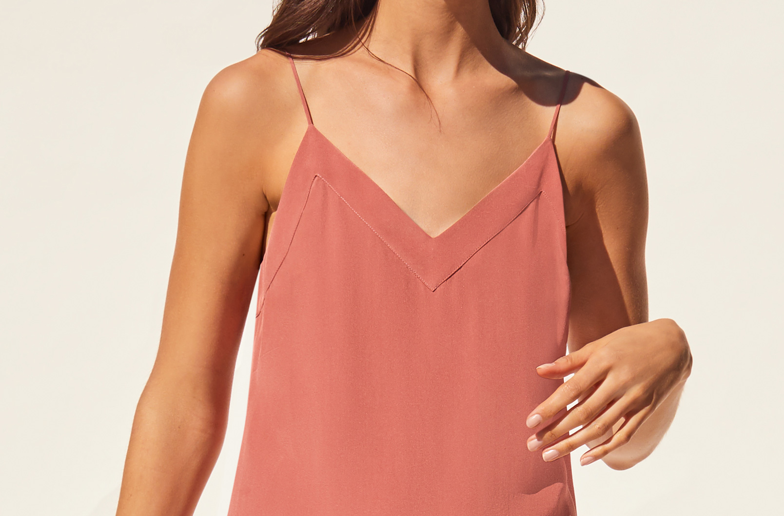 Detail shot of deep V-neckline on Silk Slip Dress